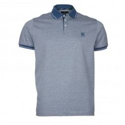 CONTRAST TIPPED FINE STRIPE POLO
