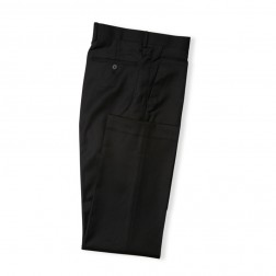 BLACK TAILORED FIT TWILL TROUSERS