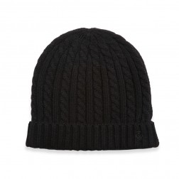 CABLE AND RIB KNIT BEANIE