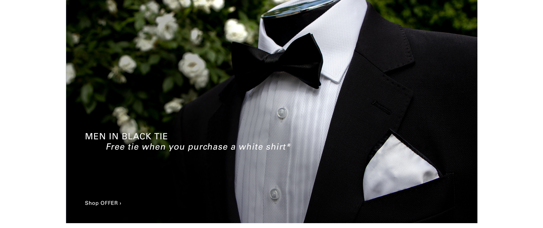 Men In Black Tie - Free tie when your purchase a white shirt*
