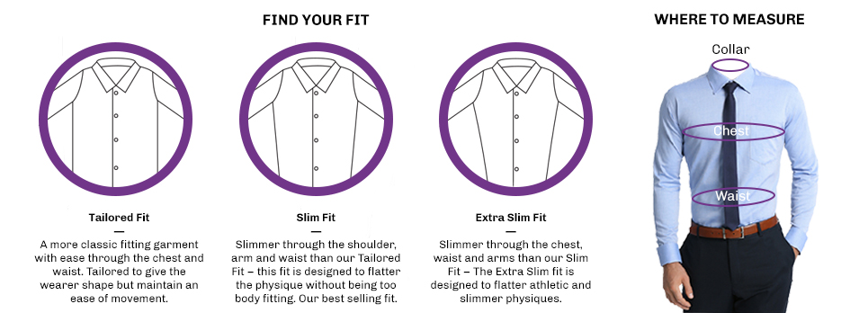 Size guide for Jos a bank tailored fit vs slim fit shirts